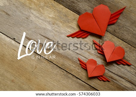 Valentine Concept Red Paper Origami Heart Stock Photo 574306033