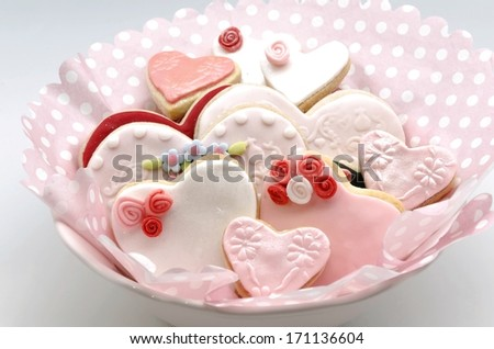 Valentine cookies decorated with fondant - stock photo