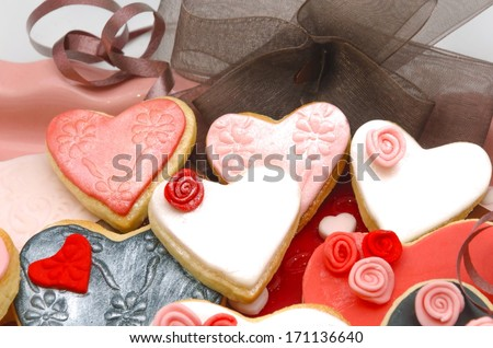 Valentine cookies decorated with fondant