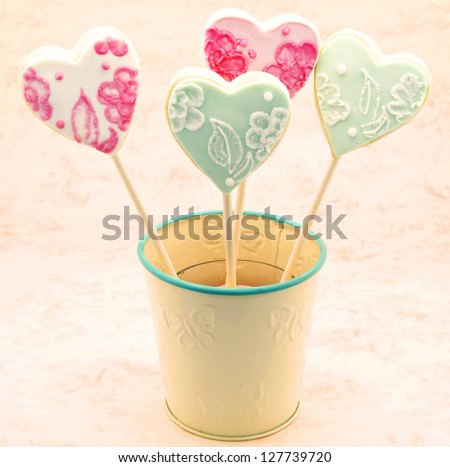 Valentine cookies decorated with heart shape - stock photo