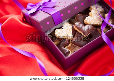 Valentine cookies in box, close up - stock photo