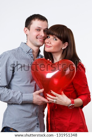 Valentine couple taken red heart and smile