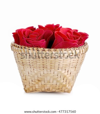 Valentine day and rose on white background