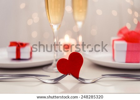 Valentine' day dinner - stock photo