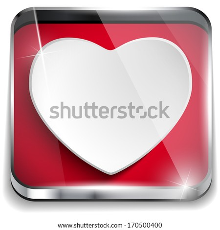 Valentine Day Glossy Application Button Heart - stock photo