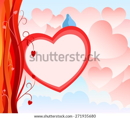 Valentine Day Greeting Card with abstract heart background - stock photo
