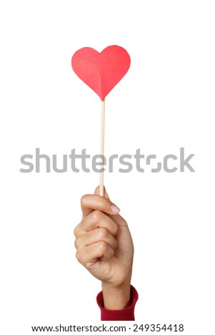 Valentine day. Hand woman holding red heart. studio shot - stock photo