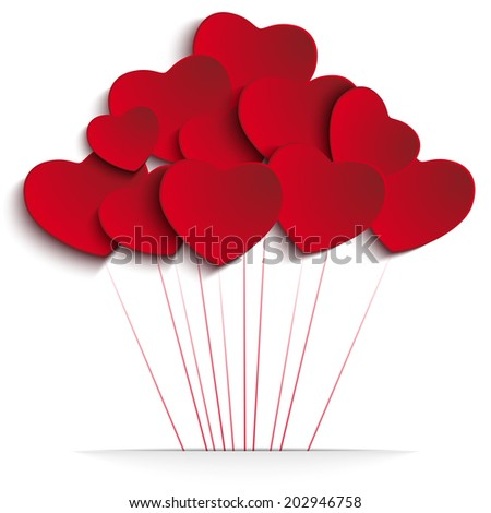 Valentine Day Heart Illustration Background - stock photo