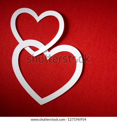 Valentine day hearts made of paper. Greetings card. - stock photo