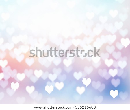 Valentine day illustration background with copy space. Romantic heart shape wallpaper with empty white space.Shining soft colors frame.  - stock photo