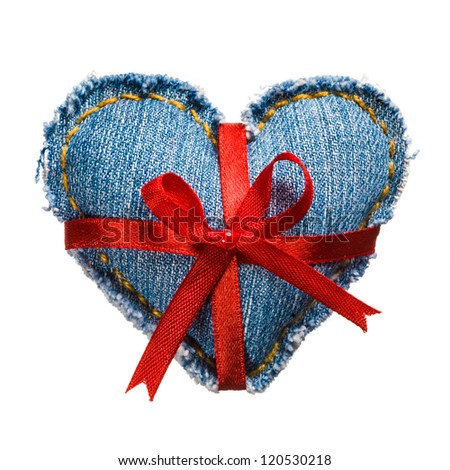 Valentine day jeans heart with red holiday ribbon. Isolated on white. - stock photo