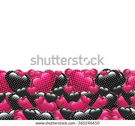 Valentine day love beautiful. Elegant beautiful black and pink background with shining hearts with pattern and space for text. Vertical trendy candy pink and dark black romantic love postcard concept. - stock photo