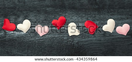 Valentine day. Red hearts on the darkboards. Valentine's Day. Red heart. Space for text. Letter box look. Eighth of March. International Women's Day. Toned image. - stock photo