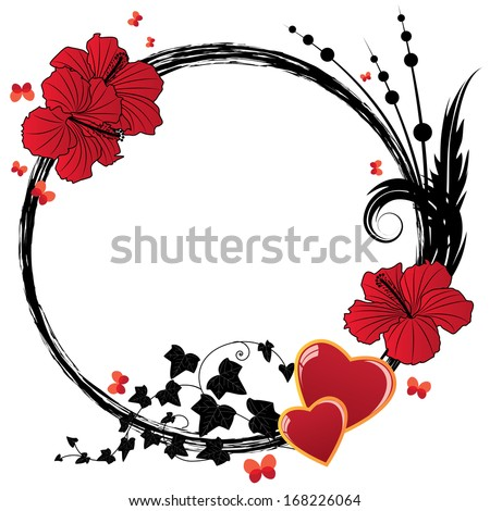 valentine floral frame with flowers of hibiscus and hearts - stock photo