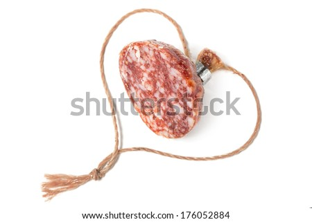 Valentine from a small piece of sausage, isolated on white.