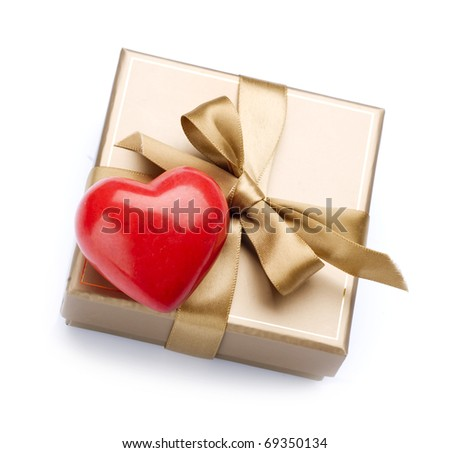 Valentine Gift and Heart over white - stock photo