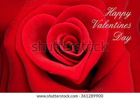 Valentine greeting card, red rose in the shape of a heart