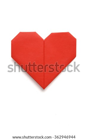 Valentine greeting paper folded origami love heart isolated on white - stock photo