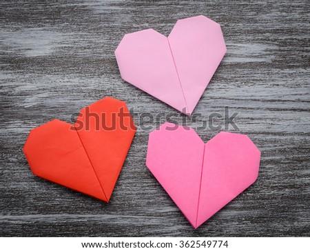 Valentine Greeting Paper Folded Origami Love Stock Photo 362550107 ...