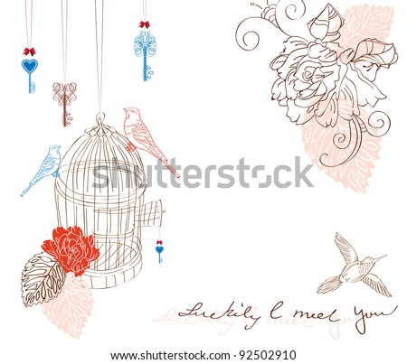 Valentine hand drawing background with birds and flowers