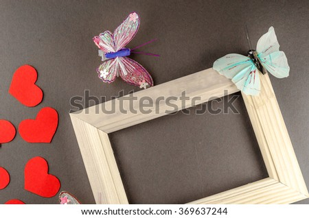 valentine heart and black board,butterfly,horizontal photo
