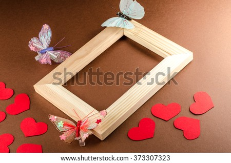 valentine heart and blackboard,butterfly,horizontal photo