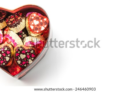valentine heart box with white background to placing words