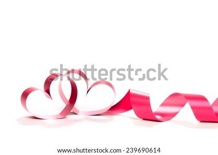 Valentine Heart. Elegant Red satin gift Ribbon. Isolated on white - stock photo