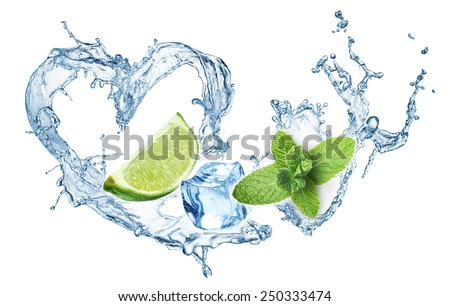 Valentine Heart from water splash, mint, ice and lime. Mojito - stock photo