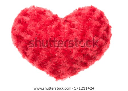 Valentine Heart Made Out of Pillow Roses on White Background - stock photo