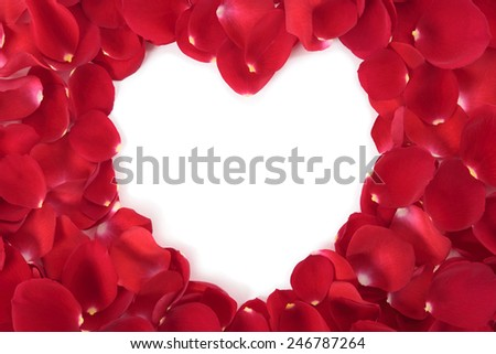 Valentine heart shape frame with red roses petals - stock photo