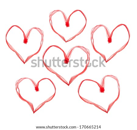 Valentine hearts made with ribbon on white background. - stock photo