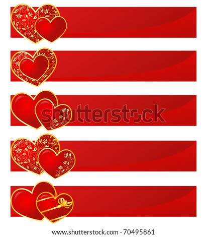 Valentine hearts with floral pattern - stock photo