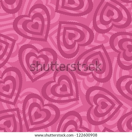 Valentine holiday seamless pattern with pictogram hearts on pink background. - stock photo