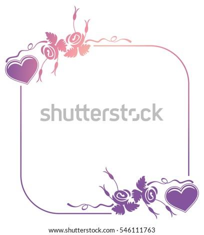 Valentine Label Roses Hearts Color Gradient Stock Illustration ...
