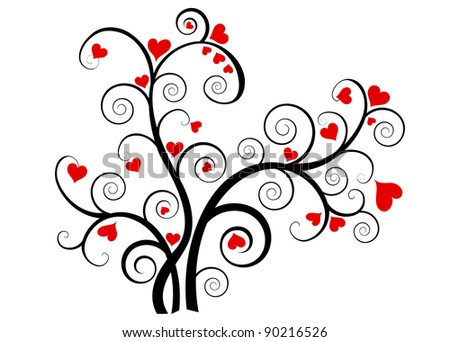 Valentine love tree with red hearts on white background - stock photo