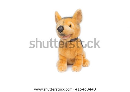 Valentine plush toy dog on white background,Dog Plush toy for children. - stock photo