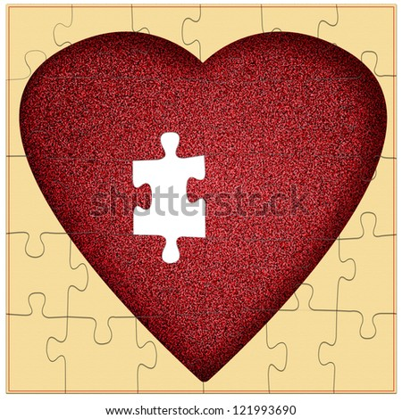 Valentine puzzle - missing piece to my heart, concept - stock photo