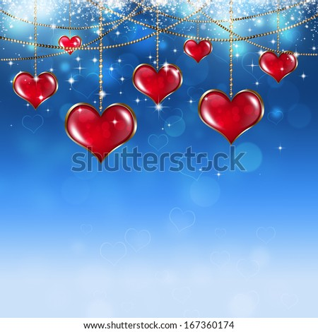 On soft blue background with stars and blurry lights stock photo