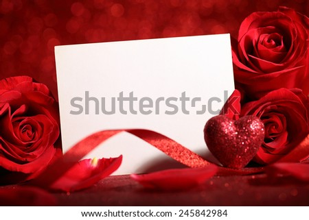 Valentine rose and blank card,Closeup. - stock photo