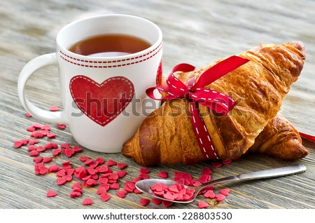 Valentine's breakfast with heart shape decoration - stock photo