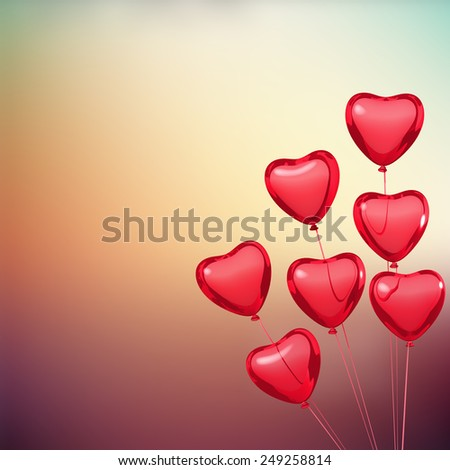 Valentine's card with heart shape balloons. Place for text