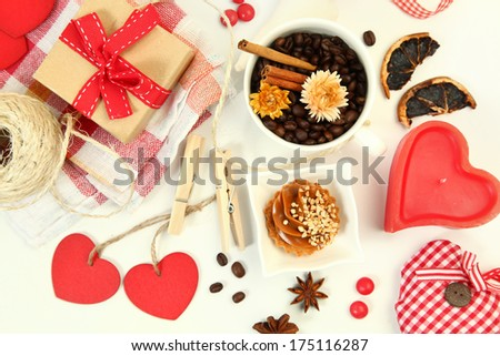 valentine's composition with red hearts