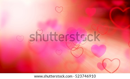 Valentine's day abstract background, flying hearts.