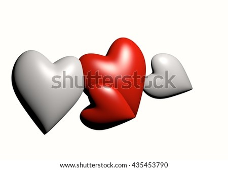 Valentine's Day and Love Symbol. Hearts Isolated on White Background, Red and white hearts 3D rendering isolate on white background. - stock photo