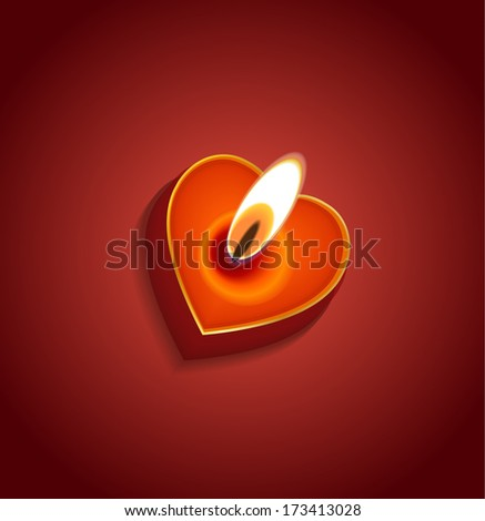 Valentine's day background: heart candle - stock photo