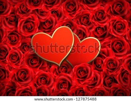 Valentine`s day background. Two hearts on background of  red flowers. Raster version of vector