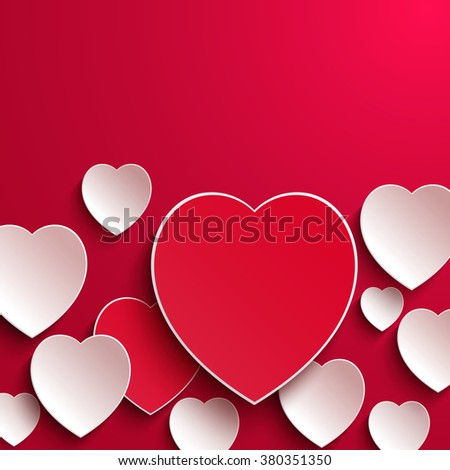 Valentine`s day background. Valentines day. Abstract paper hearts. Happy Valentines Day card. Valentine's day background with cut paper heart. Red and white paper hearts Valentines day card. Be my - stock photo