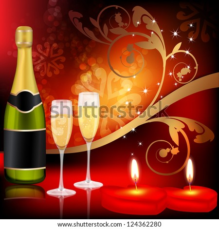 Valentine`s day background with candles and champagne