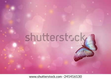 Valentine's day background with flying butterfly - stock photo